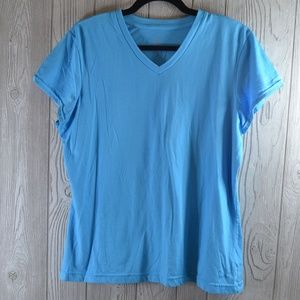 Short Sleeve Stretch Top Blue PLUS SIZE XXL
